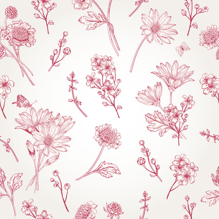 Beautiful vintage seamless pattern with flowers on a white background
