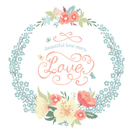 leaves frame: Wedding round floral frame with flowers in pastel colors