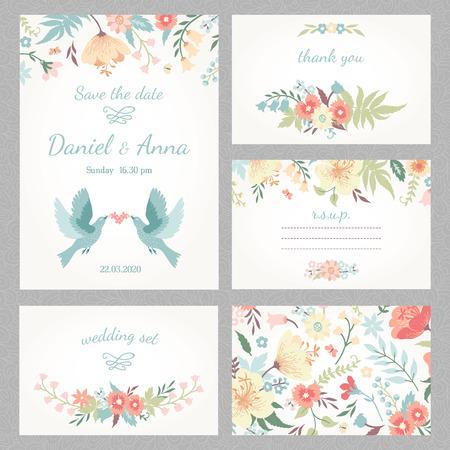 borde de flores: Boda del vintage hermoso conjunto con flores y pájaros lindos del amor Vectores