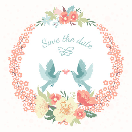 結婚式の愛の鳥と花丸花のフレーム
