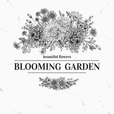 花の花束を持つヴィンテージ エレガントな背景  イラスト・ベクター素材