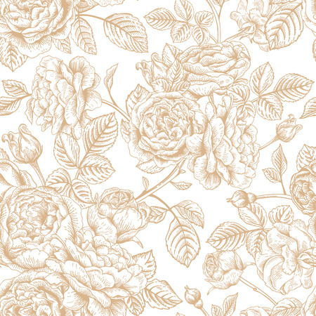 english rose: seamless vintage pattern with roses. Illustration