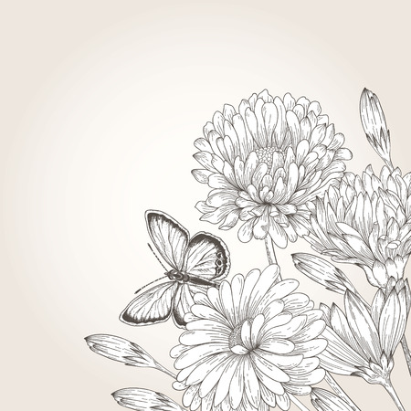 frame with flowers daisies, asters, chrysanthemums and a butterfly. Monochrome illustration. Vector