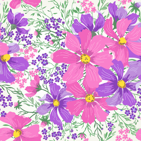violet flowers: Vector seamless floral romantic pattern with flowers and herbs