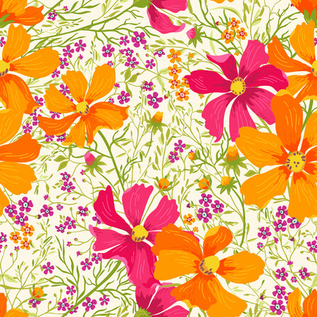 fuchsia: seamless floral summer pattern with flowers and herbs