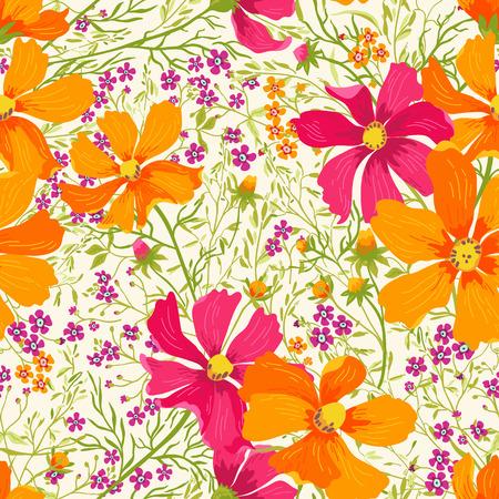flores fucsia: verano patrón floral sin fisuras con flores y hierbas