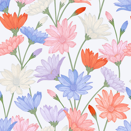 seamless pattern with beautiful flowers in pastel colors