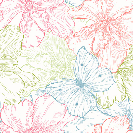 peonies: Floral seamless pattern with flowers and butterflies Illustration