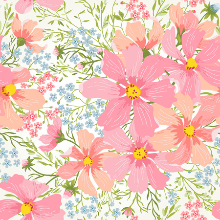 daisy pink: seamless floral romantic pattern with flowers and herbs in pastel colors