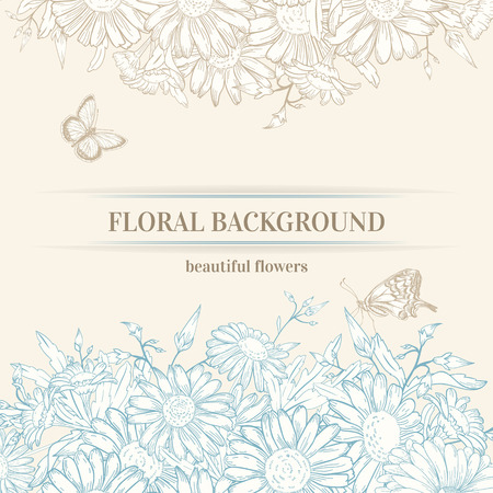 vintage romantic background with chamomile flowers and butterflies. Illustration