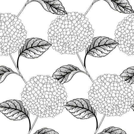 fabric textures: Seamless vector pattern with flowers hydrangeas. Black and white background. Seamless pattern can be used for wallpapers, fabric, pattern fills, web page backgrounds, surface textures.