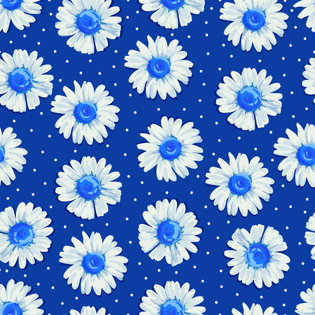 blue white: Beautiful summer background with daisies flowers. Floral seamless pattern. Vector illustration.