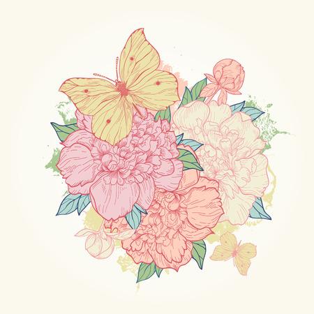 pfingstrosen: Vector Vintage Hintergrund mit Pfingstrosen und Schmetterling. Verwenden Sie für Einladungen, Grußkarten.