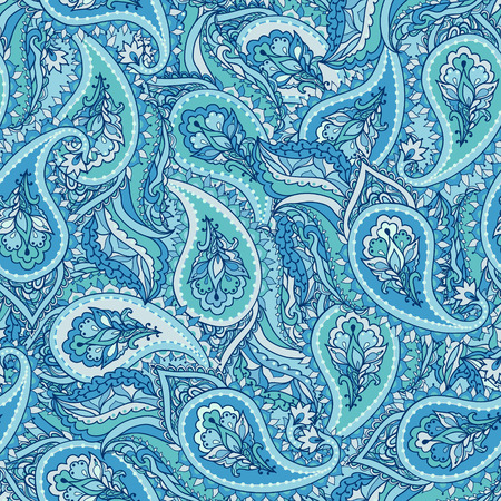 Floral paisley vector ornate seamless pattern. Blue background. Seamless pattern can be used for wallpapers, pattern fills, web page backgrounds, surface textures.