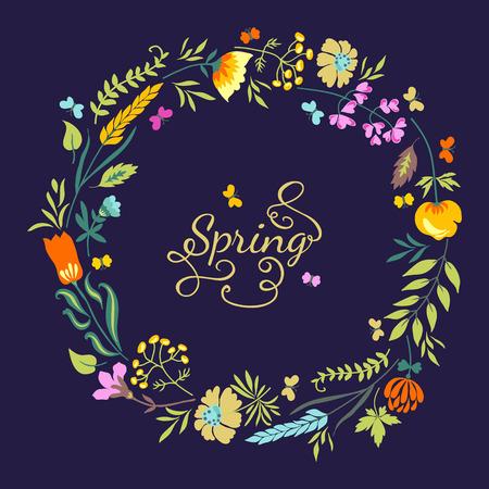 Vintage tarjeta floral con flores, hierbas y mariposas. El verano de fondo brillante. Foto de archivo - 40084283