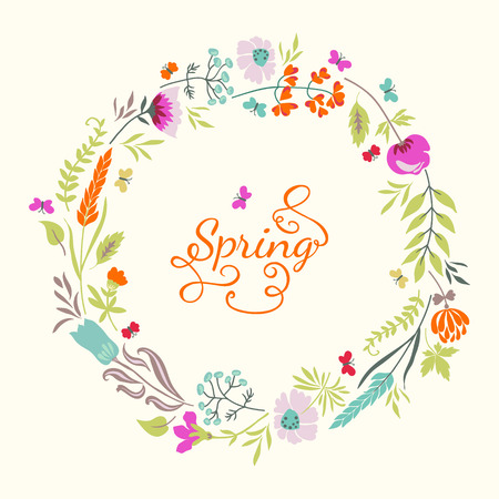 Vintage carte floral avec des fleurs, des herbes et des papillons. Fond lumineux de l'été. Utilisez pour les invitations de mariage, cartes de v?ux. Banque d'images - 40084284