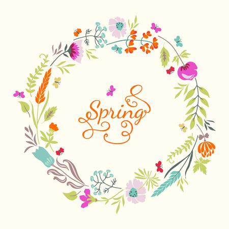 Vintage tarjeta floral con flores, hierbas y mariposas. El verano de fondo brillante. Uso para las invitaciones de boda, tarjetas de felicitación. Foto de archivo - 40084284