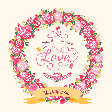 yellow rose: Cute wedding invitation with a wreath of roses and birds in vintage style. Vector illustration. Bright summer background. Illustration