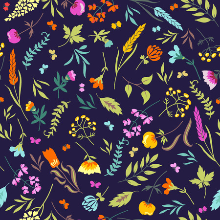 Cute vector seamless floral pattern with flowers, herbs and butterflies a black background. Seamless pattern can be used for wallpapers, fabric, pattern fills, web page backgrounds, surface textures. Vector