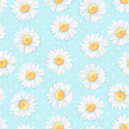 ヒナギクの花を持つ美しい夏の背景。花のシームレスなパターン。ベクトルの図。