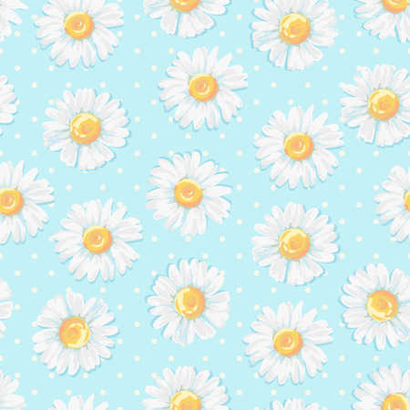 Beautiful summer background with daisies flowers. Floral seamless pattern. Vector illustration.