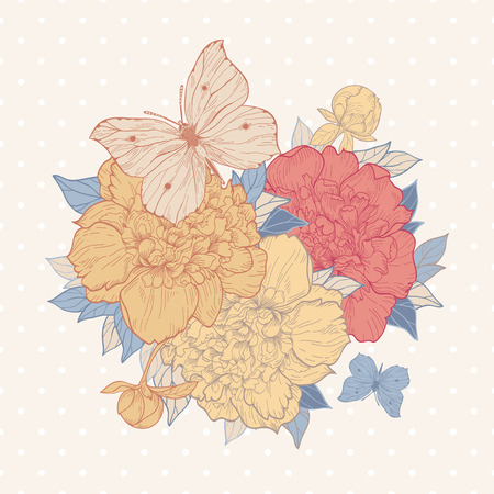 Vector vintage background with peony and butterfly. Use for invitations, greeting cards. Vector