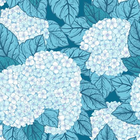 Vector seamless floral pattern with flowers hydrangeas.