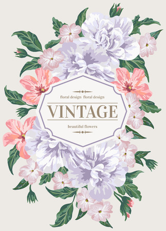 pastel flowers: Vintage greeting card with colorful flowers in pastel colors. Vector illustration.