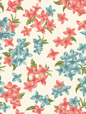 Vector seamless pattern with small flowers on a dark background.