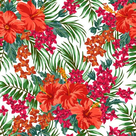 熱帯の葉と白い背景の上に花のシームレスなエキゾチックなパターン。ハイビスカス、モンステラ、パーム。ベクトルの図。