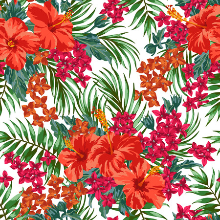 Seamless exotic pattern with tropical leaves and flowers on a white background. Hibiscus, monstera, palm. Vector illustration.