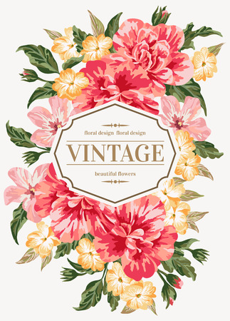 coral: Vintage greeting card with colorful flowers. Vector illustration.