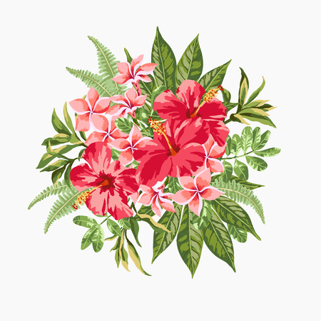 beautiful red hibiscus flower: Bouquet of tropical flowers and leaves. Plumeria, hibiscus, monstera, palm. Vector illustration.