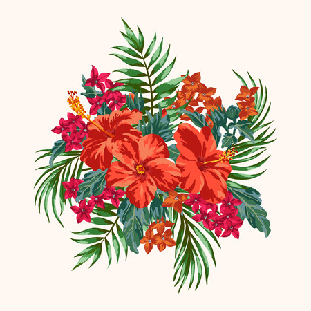 Bouquet of tropical flowers and leaves. Plumeria, hibiscus, monstera, palm. Vector illustration.
