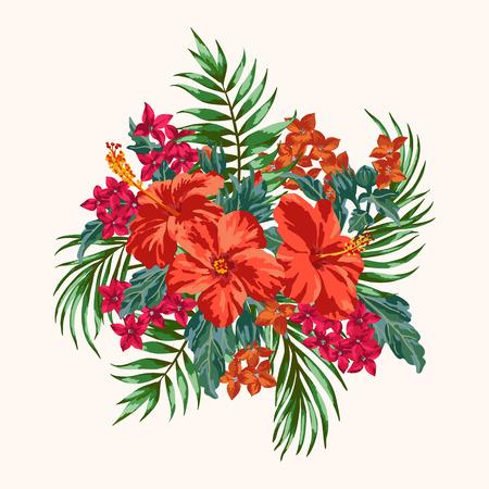hibiscus: Ramo de flores tropicales y hojas. Plumeria, hibisco, monstera, palma. Ilustración del vector.