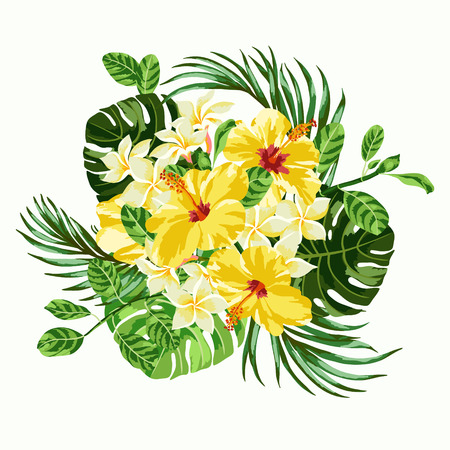 熱帯の花と葉の花束。プルメリア、ハイビスカス、モンステラ、パーム。ベクトルの図。