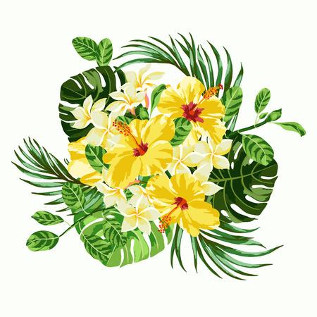 Boeket van tropische bloemen en bladeren. Plumeria, hibiscus, monstera, palm. Vector illustratie. Stock Illustratie