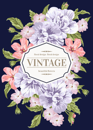 Vintage wedding invitation with colorful flowers on a dark blue background. Vector illustration.
