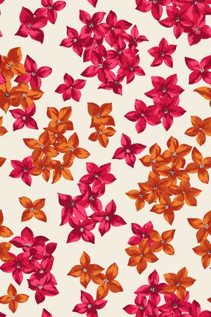 flores fucsia: Vector sin patrón con flores diminutas de colores sobre un fondo claro.