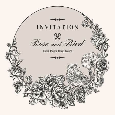 Vector vintage round frame with birds and roses. Floral wreath. Black and white. Fit for wedding card, invitation, greetings. Vector