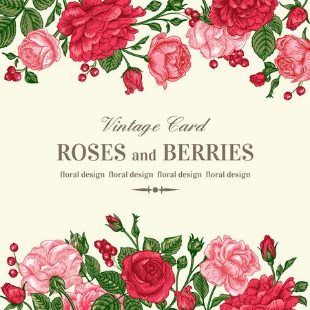 Vintage trouwkaart met roze en rode rozen op een lichte achtergrond. Vector illustratie.