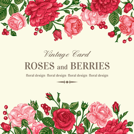 rose: Vintage wedding invitation with pink and red roses on a light background. Vector illustration.