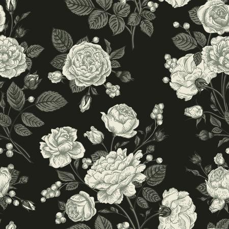 Naadloze vector patroon met rozen. Zwart en wit. Vintage vector illustratie.