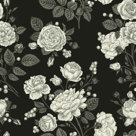 Seamless vector pattern with roses. Black and white. Vintage vector illustration. Иллюстрация