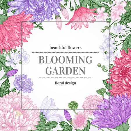 Bloemen uitstekende zomer vector achtergrond. Tuinasters, chrysanten, madeliefjes op een beige achtergrond.