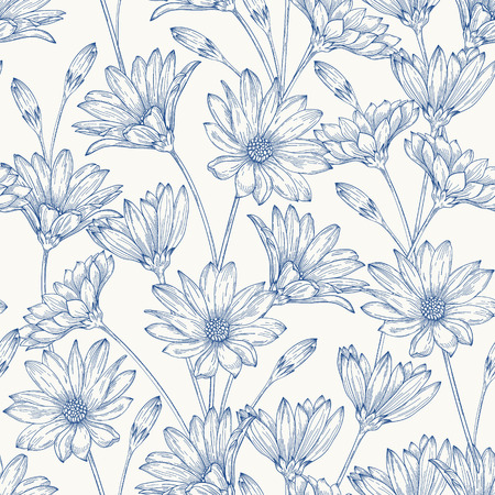 lijntekening: Mooie vintage naadloze patroon met blauwe madeliefjes op een witte achtergrond.