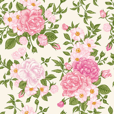 Romantic seamless pattern with pink roses on a light background. Vector illustration.