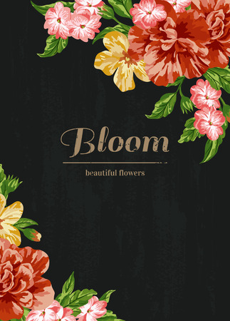 coral: Vintage wedding invitation with colorful flowers on black background. Vector illustration.