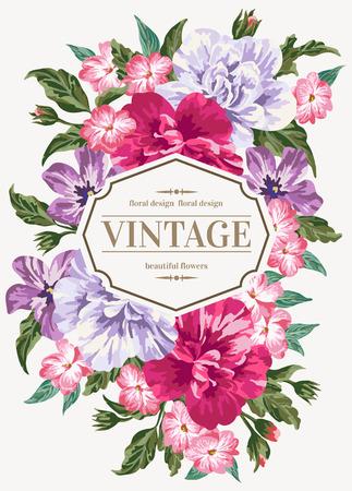色とりどりの花でビンテージのウェディング招待状。ベクトルの図。  イラスト・ベクター素材