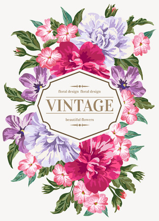 coral: Vintage wedding invitation with colorful flowers. Vector illustration.